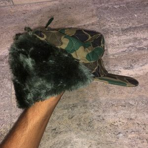 Vintage Camo Hunting Hat with Warm Ear Flaps